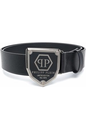 Philipp Plein Men Belts - Logo-plaque leather belt