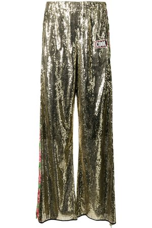 COOL T.M Floral-embroidered sequinned trousers