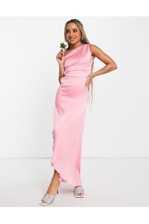 TFNC Bridesmaid one shoulder maxi dress in bubblegum