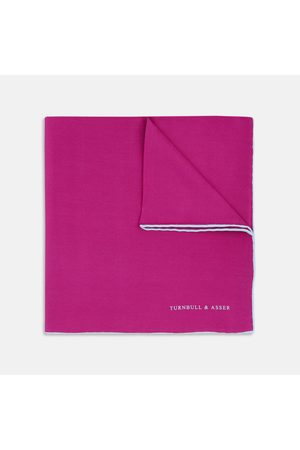 Turnbull & Asser Men Pocket Squares - Fuchsia and Piped Silk Pocket Square