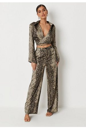 Missguided Snake Print Wide Leg Satin Trousers