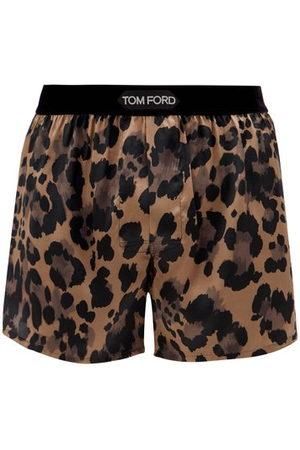 Tom Ford Leopard-print Silk-blend Satin Boxer Shorts - Mens - Multi