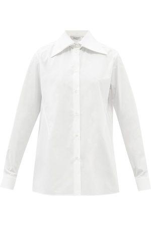 VALENTINO Exaggerated-collar Cotton-poplin Shirt - Womens