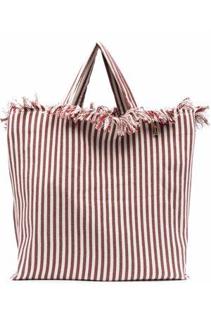 La Milanesa Striped fringe-trimmed tote bag