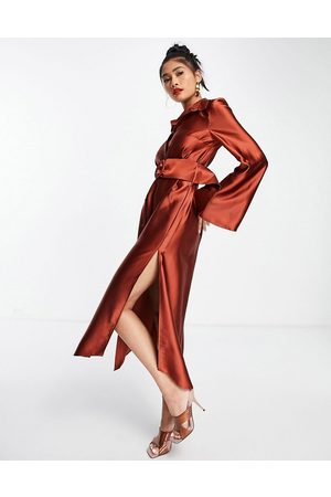 ASOS Wide sleeve satin belted midi shirt dress in rust
