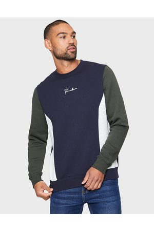 Threadbare Men Sweatshirts - Mens Cropper Navy Plain Colourblock Sweatshirt