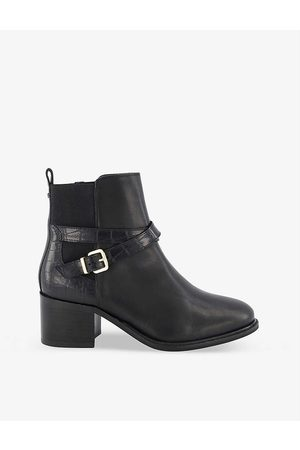 Dune Women Ankle Boots - Poet croc-effect heeled leather ankle boots