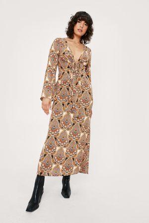 NASTY GAL Womens Paisley Tie Front Bell Sleeve Midi Tea Dress
