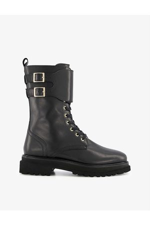 Dune Women Lace-up Boots - Prime double-buckle chunky-soled lace-up leather boots