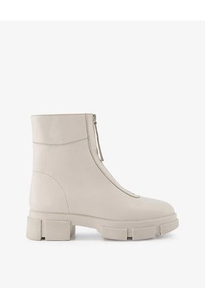 Dune Women Ankle Boots - Path chunky-soled zip-up leather ankle boots