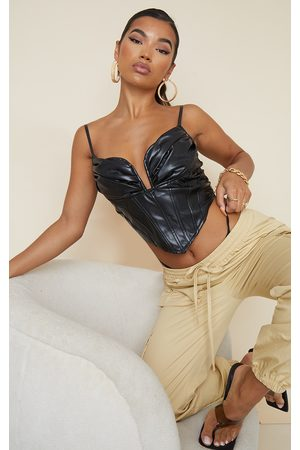PRETTYLITTLETHING Faux Leather Ruched Bust Pointed Hem Corset