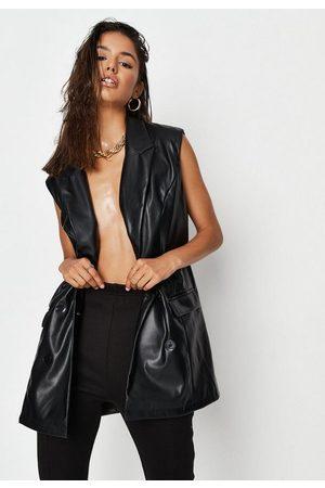 Missguided Faux Leather Sleeveless Oversized Blazer