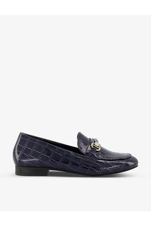 Dune Women Loafers - Grange croc-embossed patent faux leather loafers