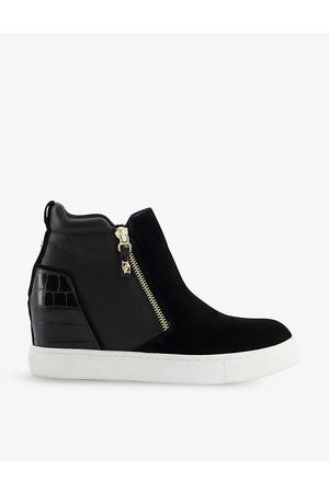 Dune Concealed-wedge croc-effect faux leather trainers