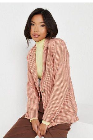 Missguided Women Blazers - Houndstooth Boucle Tailored Blazer