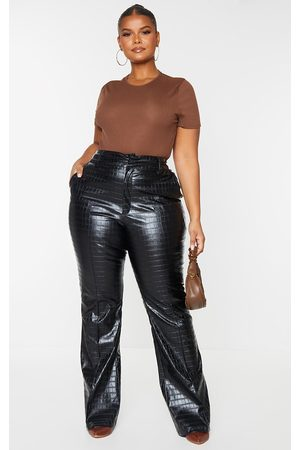 PRETTYLITTLETHING Plus Faux Leather Croc Embossed Flare Trousers