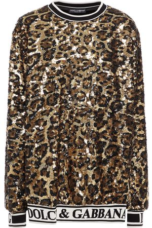 Dolce & Gabbana Women Sweatshirts - Woman Leopard-print Sequined Crepe Sweatshirt Size 36
