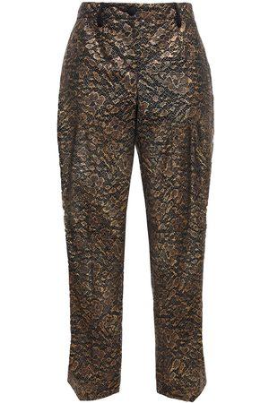 Dolce & Gabbana Women Skinny Trousers - Woman Metallic Lace Slim-leg Pants Size 36