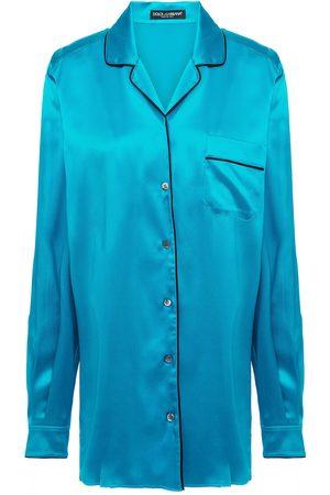Dolce & Gabbana Women Tops - Woman Stretch-silk Satin Shirt Turquoise Size 36