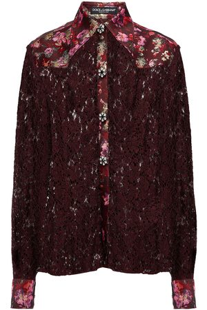 Dolce & Gabbana Women Tops - Woman Paneled Embellished Floral-jacquard And Cotton-blend Corded Lace Shirt Merlot Size 36