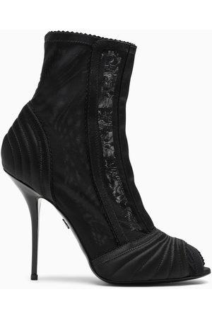 Dolce & Gabbana Peep-toe satin ankle boots