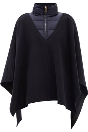 Chloé Women Coats - Quilted-collar Felted Wool-blend Poncho - Womens - Navy