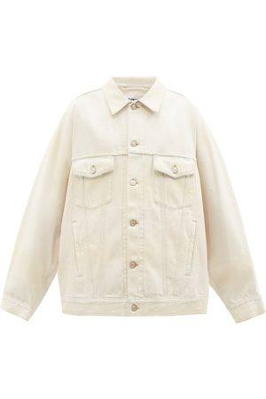 Balenciaga Women Denim Jackets - Logo-patch Distressed-denim Jacket - Womens - Cream