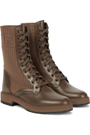 Fendi Rockoko leather and ribbed-knit combat boots