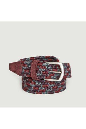 Anderson's Elasticated woven wool belt Burgundy