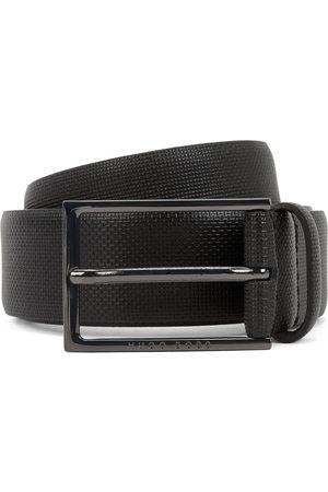 HUGO BOSS CARMELLO-S Printed-Leather Belt With Gunmetal Buckle 50262032 001