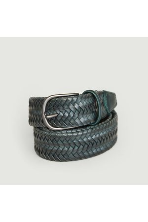 Anderson's Elasticated braided leather belt Bleu Canard