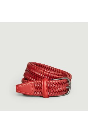 Anderson's Elasticated braided leather belt Brick