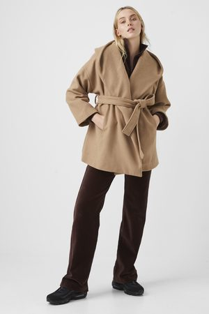 French Connection Favan Felt Hooded Coat-camel/clay nude-70RAF