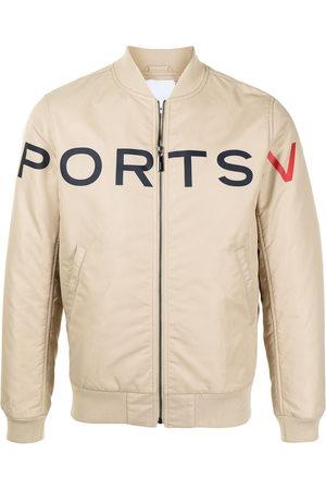 Ports V Bomber Jackets - Logo-print bomber jacket - Neutrals