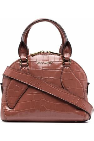 Coccinelle Embossed-crococile tote bag