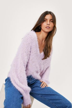 NASTY GAL Womens Chunky Knit Wrap Front jumper