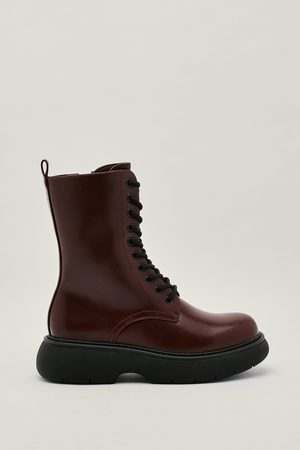 NASTY GAL Womens Pu Lace Up Chunky Bubble Sole Boots