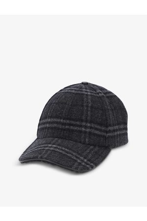 Burberry Men Caps - Checked brand-engraved wool and cashmere-blend baseball cap
