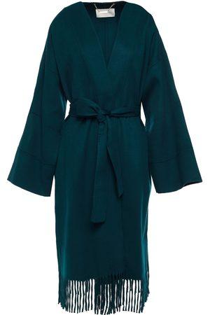 ZIMMERMANN Women Coats - Woman Fringed Wool-felt Kimono Emerald Size 0