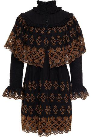 Antik Batik Women Dresses - Woman Lilou Layered Shirred Broderie Anglaise Cotton Mini Dress Size 36
