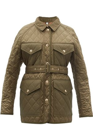 Burberry Kemble Belted Quilted Technical-shell Jacket - Womens - Dark