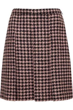 Gucci Wool Houndstooth Pleated Skirt