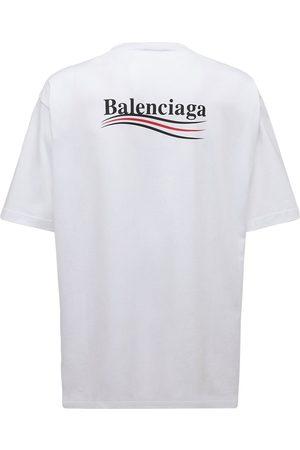 Balenciaga Political Logo Cotton Jersey T-shirt