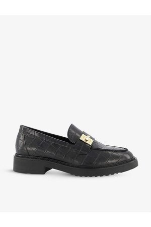 Dune Women Loafers - Ginnie turn-lock croc-effect faux leather loafers