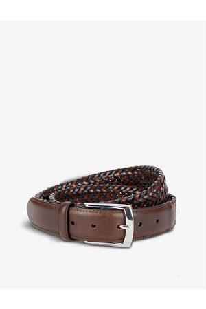 Dents Logo-engraved plaited leather belt