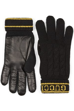 Gucci Men Gloves - Wool knit gloves with script