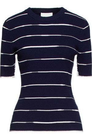 3.1 Phillip Lim Women Tops - Woman Striped Ribbed Cotton-blend Top Navy Size L