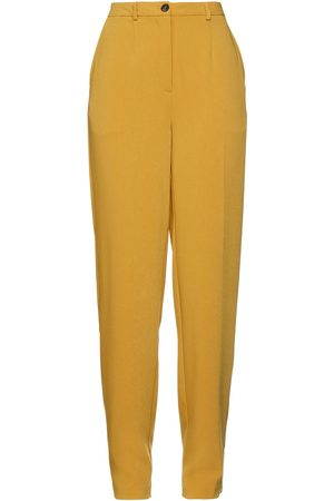 American Vintage Women Trousers - Woman Crepe Tapered Pants Mustard Size L
