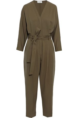3.1 Phillip Lim Women Jumpsuits - Woman Cropped Belted Washed Wool-twill Jumpsuit Army Size 0