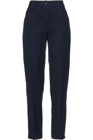 American Vintage Women Trousers - Woman Cotton-blend Flannel Tapered Pants Navy Size L